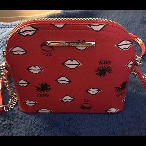 Betsey Johnson crossbody purse w/lips & eyelashes